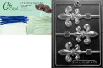 """Cybrtrayd""""Fleur-De-Lis Lolly"""" Dads Chocolate Candy Mold with Lollipop Supply Bundle, Includes 25 Lollipop Sticks, 25 Cello Bags and 25 Blue Twist Ties"""