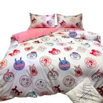 HOLY HOME Cartoon Bedding Rose Red Duvet Cover Set Kid's Bedclothes 4 Pieces (Full, Anpanman)