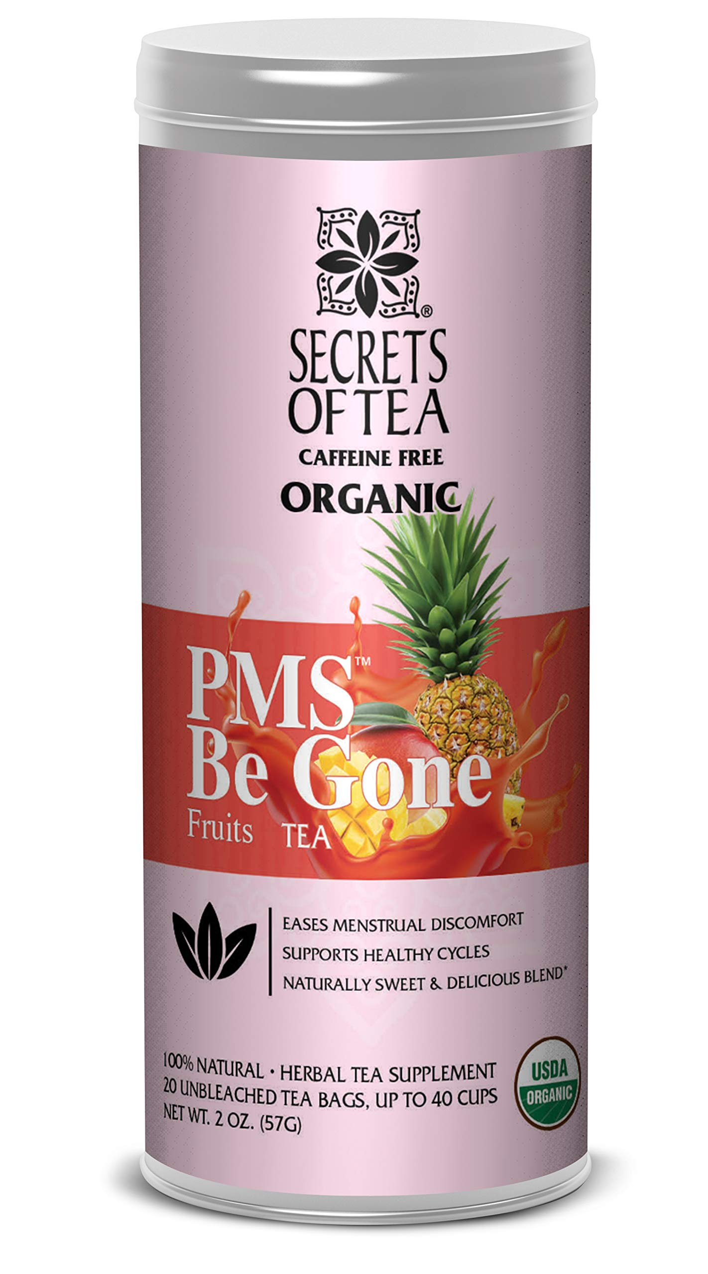 Secrets of Tea PMS BE Gone Fruit Tea: PMS Relief Tea USDA Organic Loose Leaf in 20 Biodegradable Sachets, Eases Discomfort & Supports Healthy Cycle, 40 Servings, USDA Organic, Caffeine Free