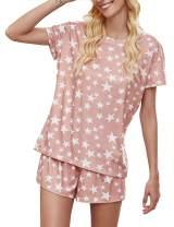 Luranee Women's Pajamas Set 2 PCS Soft Short Sleeve Print Loungewear
