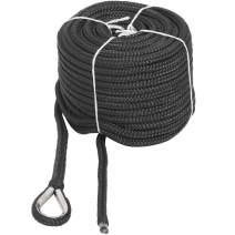 """NovelBee 1/2"""" x 100' Double Braid Nylon Anchor Line with Stainless Steel Thimble,Safe Workload:1,020 Lbs;Tensile Strength:5,100 Lbs"""