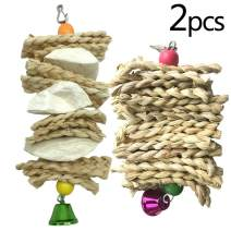 kathson Bird Cuttlebone Beak Stone, Parrot Trimming Toys Grass Woven Chewing Calcium Supplement for Conures Parakeets Cockatiels and Lovebirds (2 Pack)