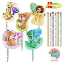 90PCS Kids Wooden Pencils with 25PCS Sniff Cards Toppers Bookmark for Classroom Exchange Prizes Party Favors