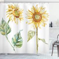 """Ambesonne Watercolor Shower Curtain, Alluring Sunflowers Summer Inspired Design Agriculture, Cloth Fabric Bathroom Decor Set with Hooks, 70"""" Long, Yellow Green"""