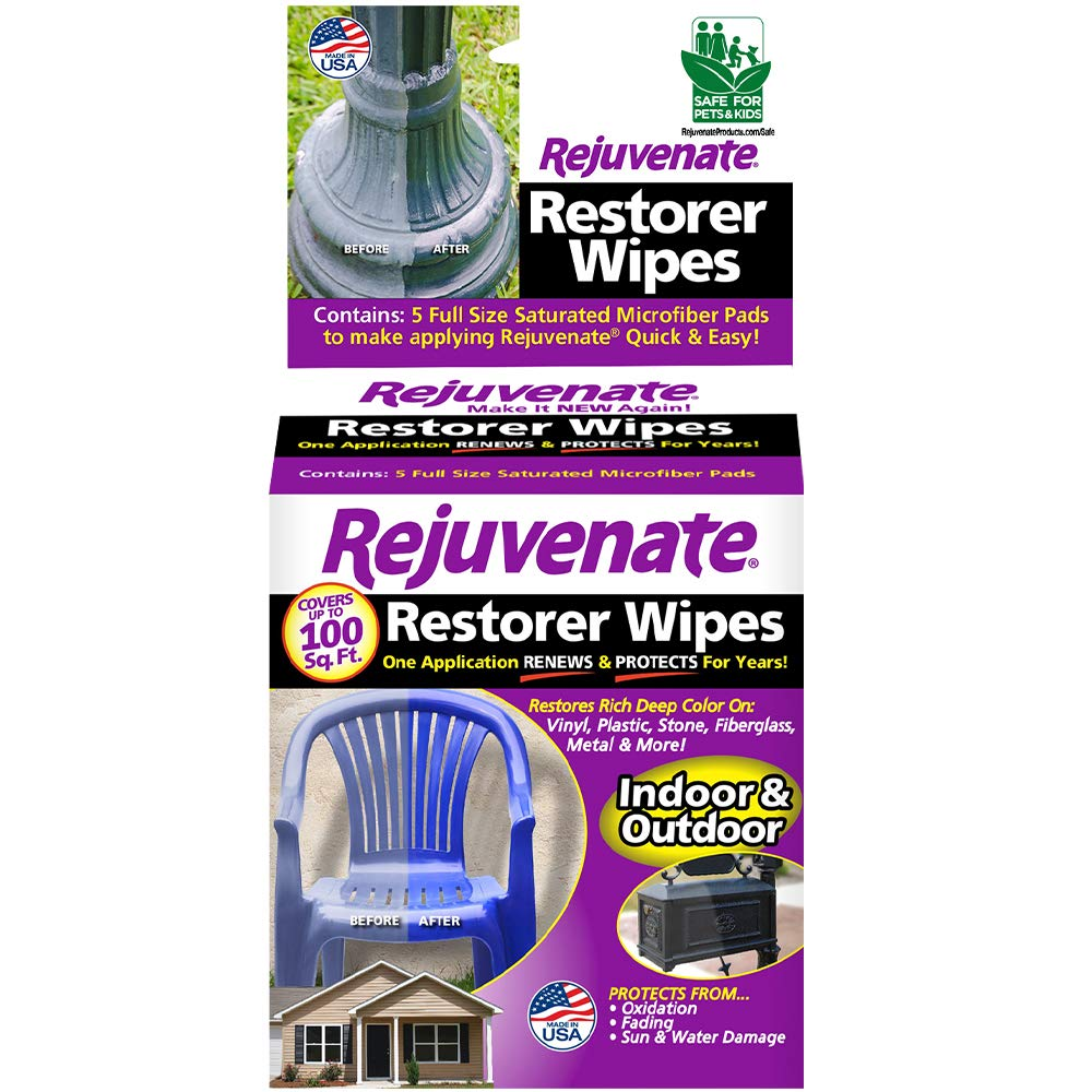 Rejuvenate Pre-Saturated Restorer Wipes Penetrating Formula Restores Shines and Protects Faded, Oxidized, Sun-Damaged Outdoor Surfaces