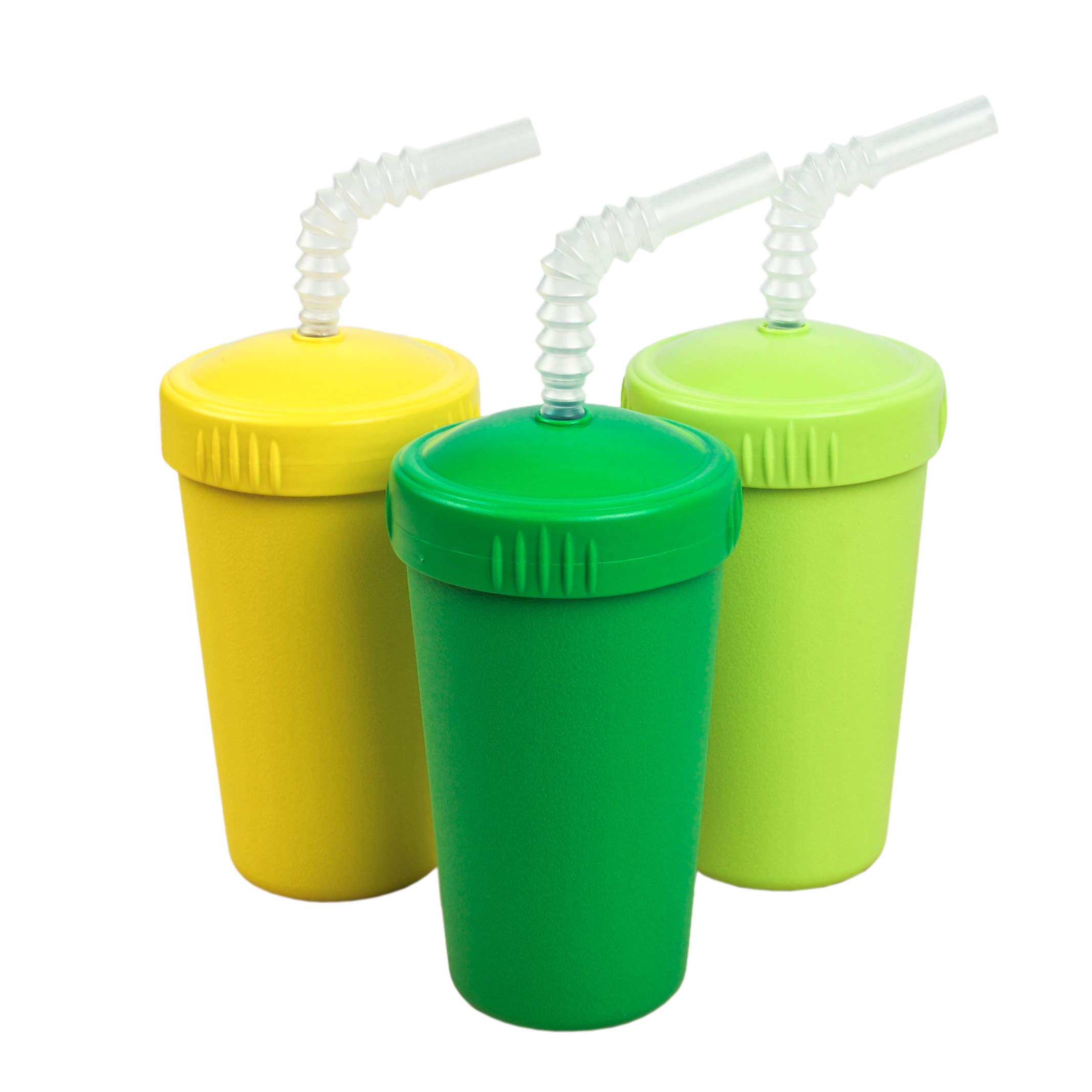 Re-Play Made in USA 3pk Straw Cups with Reversable Straw for Easy Baby, Toddler, Child Feeding - Kelly Green, Lime, Yellow (Stem)
