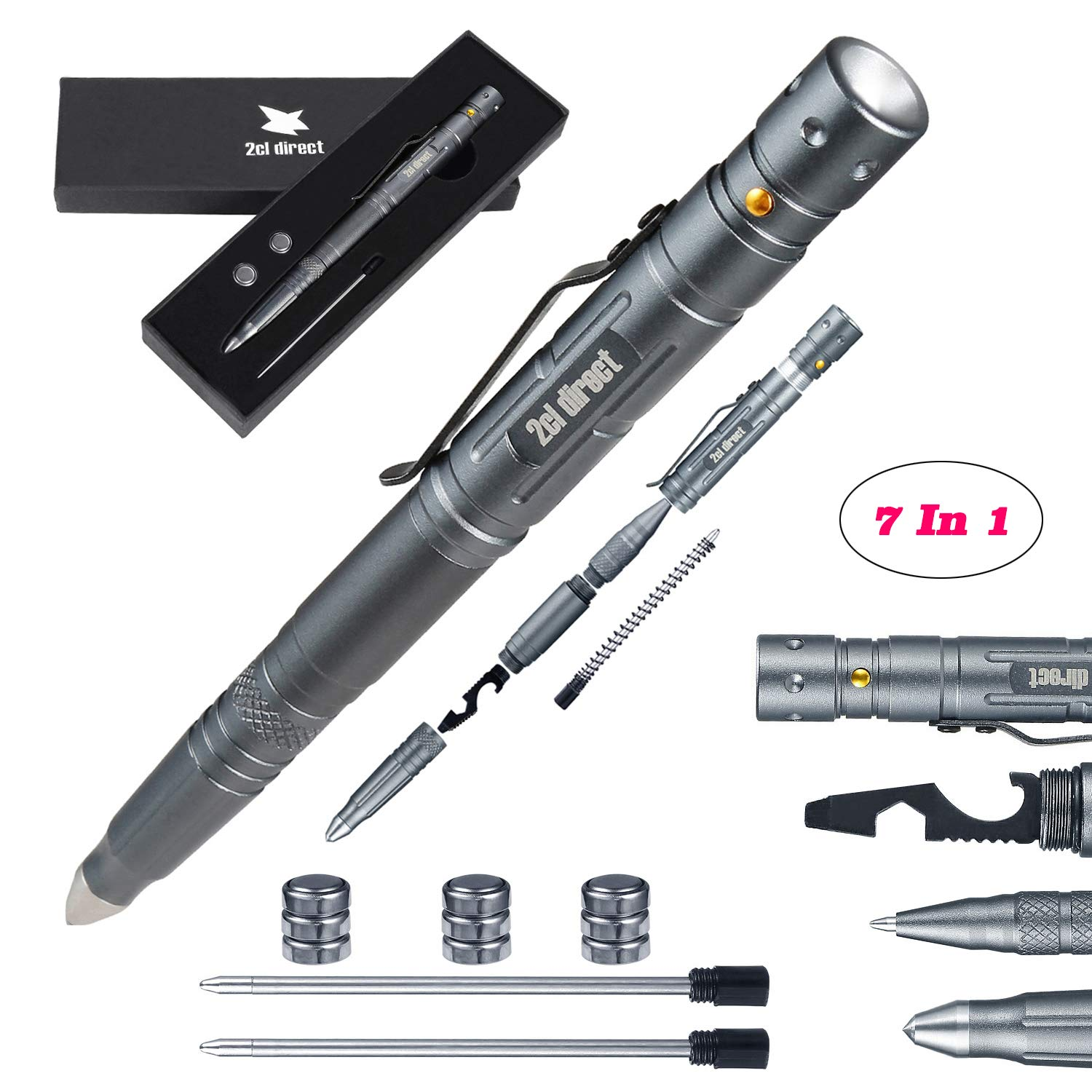 Tactical Pens(7-in-1) For Mens Dad Gifts Emergency Tool Survival Kit Military Pen with LED Tactical Flashlight Everyday Carry (EDC) Survival Gear