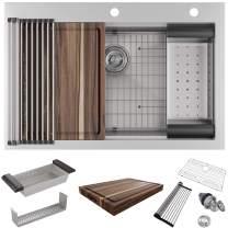 "MOWA CounterFinesse 33 x 22 inch Workstation Topmount Kitchen Sink, Luxury Drop In Workstation Sink -Pack of 7 w/ 17.5"" Acacia Butcher's Block - Tight Radius 16 Gauge Stainless Steel Single Bowl Sink"