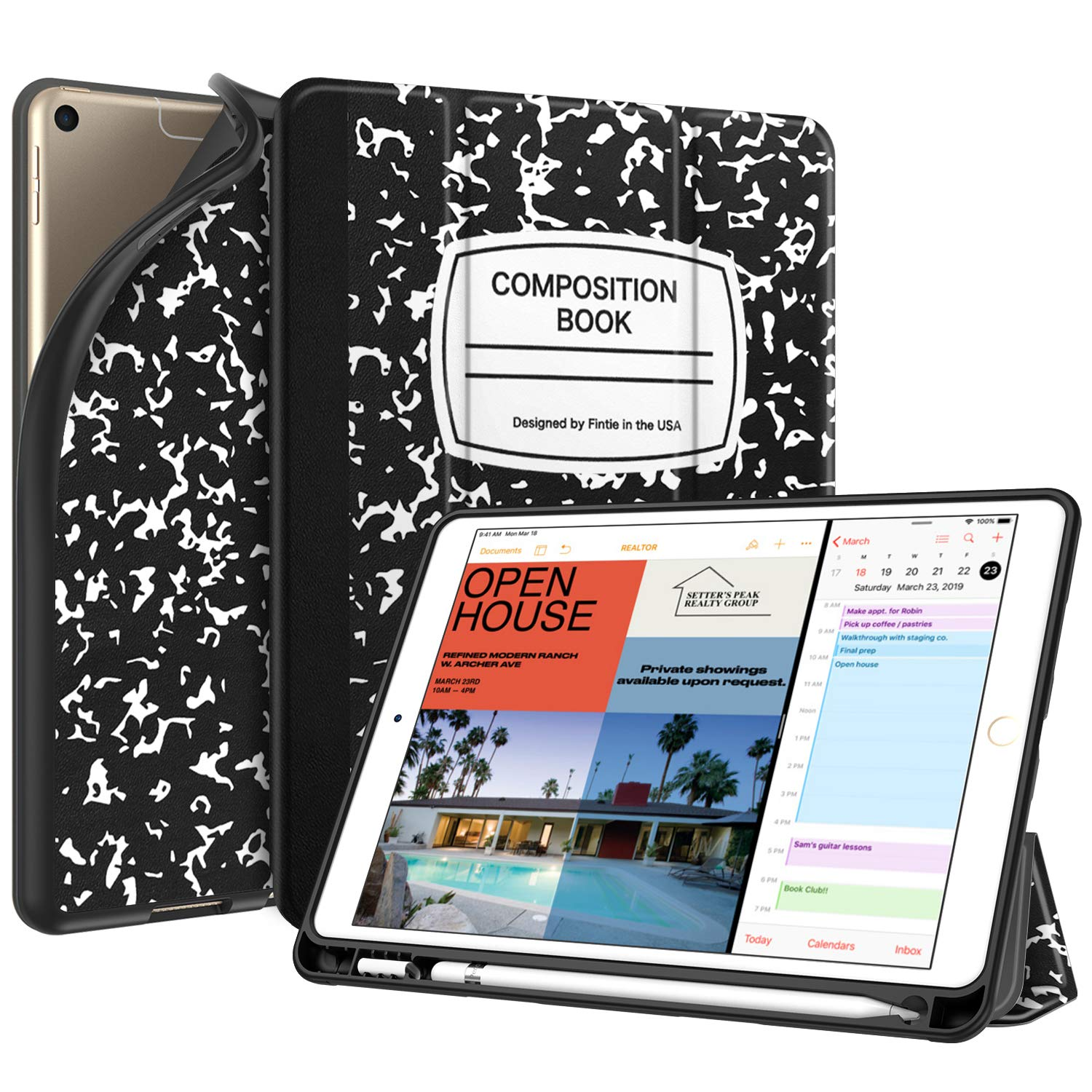 """Fintie SlimShell Case for iPad Air 3rd Gen 10.5"""" 2019 / iPad Pro 10.5 Inch 2017 with Built-in Pencil Holder - Lightweight Smart Stand Soft TPU Back Cover, Auto Wake/Sleep (Composition Book)"""
