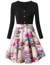 FANSIC Women's Floral Button Down Long Sleeve Vintage Colorblock V-Neck Knee-Length Flared A-Line Swing Dress