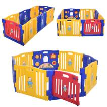 JAXPETY Baby Playpen Kids 8-Panel Safety Play Center Yard Home Indoor Outdoor New Pen (Yellow Blue Red)