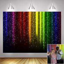 Let's Glow Party Decorations Retro Disco Music Prom Dance Photo Background 7x5ft Vinyl Colorful Rainbow Shining Glitter Sequin Neon Splatter Photography Backdrops Photo Booth Studio Props