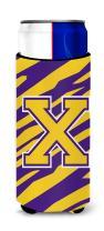 Monogram - Tiger Stripe - Purple Gold  Letter X Ultra Beverage Insulators for slim cans CJ1022-XMUK