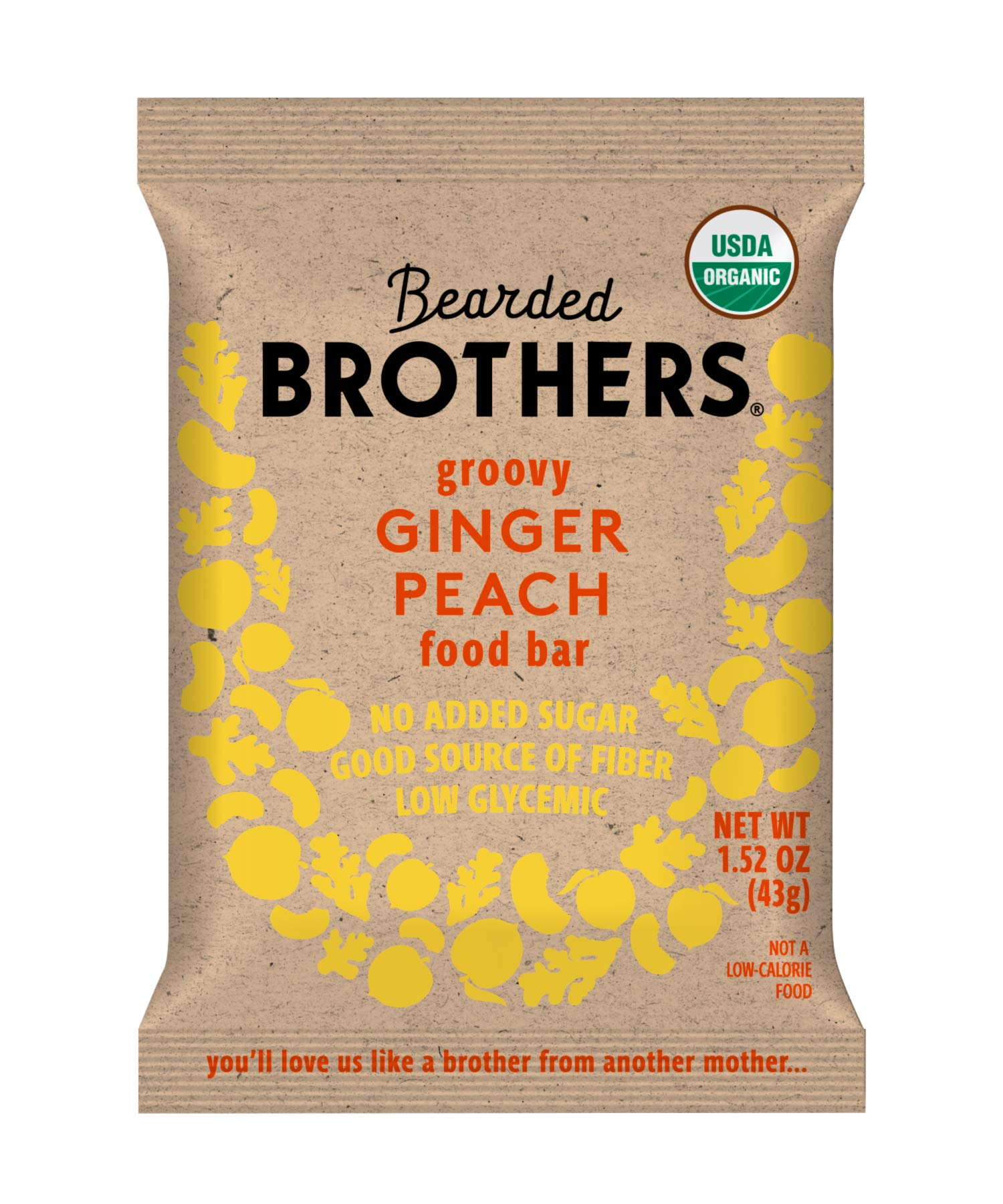 Bearded Brothers Vegan Organic Energy Bar   Gluten Free, Paleo and Whole 30   Soy Free, Non GMO, Low Glycemic, Packed with Protein, Fiber + Whole Foods   Ginger Peach   12 Pack