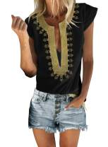 Chase Secret Womens Casual Shirt V Neck Sleeveless Boho Embroidered Print Tops Loose Blouse (S-XXL)