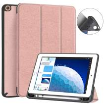 JUQITECH iPad Pro 10.5 Case iPad Air 3 Case, Smart Cover Case with Pencil Holder Flexible Soft TPU Back Shell Magnetic Protector Folio Case for iPad 3rd Gen 10.5 2019 iPad Pro 10.5 2017, Rose Gold
