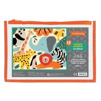 """Mudpuppy Zoo Animals Pouch Puzzle, 12 Extra Thick Colorful Pieces, 14""""x11"""" – Great for Kids Age 2-4 – Perfect for Travel – Helps Develop Hand-Eye Coordination - Packaged in Secure, Reusable Pouch"""