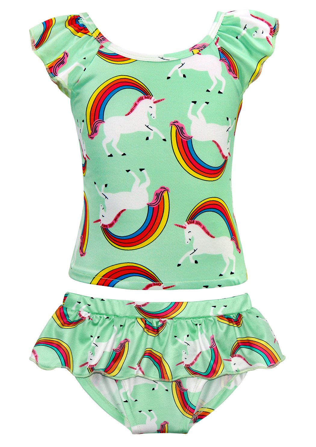 Cotrio Unicorn Swimsuit Girls Rainbow Two Pieces Swimwear Bathing Suit Bikinis