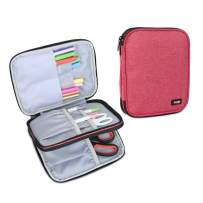 Luxja Carrying Bag for Cricut Pen Set and Basic Tool Set, Double-Layer Organizer for Cricut Accessories (Bag Only), Red