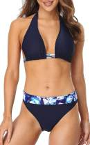 CharmLeaks Women Halter Bikini Swimsuit High Waist Swimwear 2 Piece Foldable Waist
