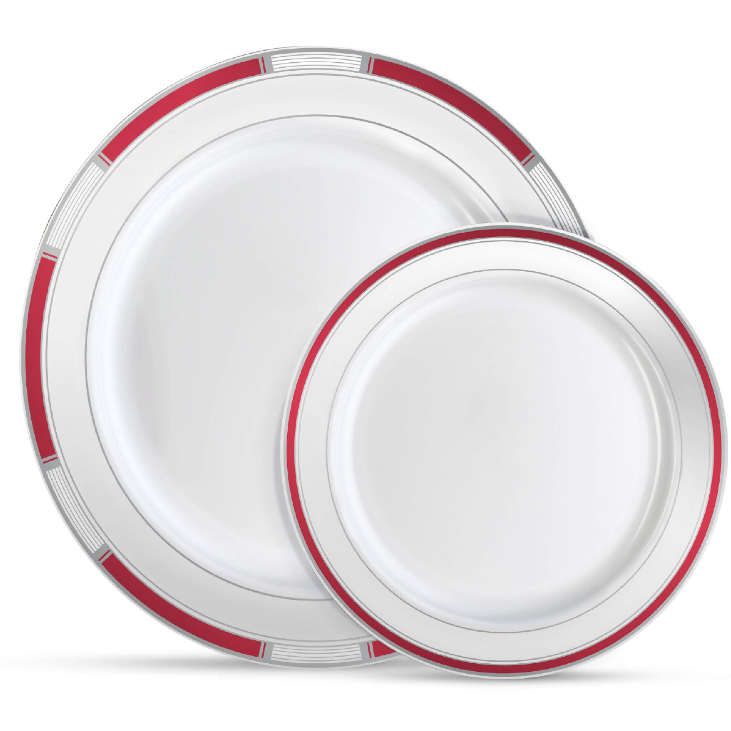 "Laura Stein Designer Dinnerware Set | 32 Disposable Plastic Party Plates | Plates with Burgandy Rim & Silver Accents | Includes 16 x 10.75"" Dinner Plates + 16 x 7.5"" Salad Plates 