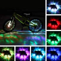 TINANA Rechargeable Bike Wheel Hub Lights Waterproof LED Cycling Spoke Lights 7 Color Bicycle Safety Warning Decoration Light for Kids and Adults Night Riding