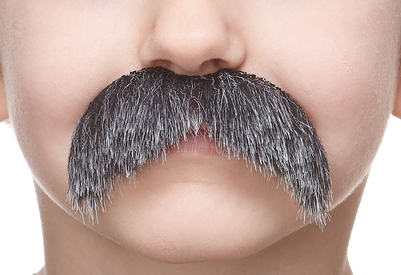 Mustaches Fake Mustache, Self Adhesive, Novelty, Small Walrus False Facial Hair, Costume Accessory for Kids, Salt and Pepper Color