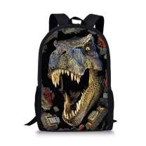 Dellukee School Backpack For Girls Cute Durable Book Bags Daypacks Dinosaur Print