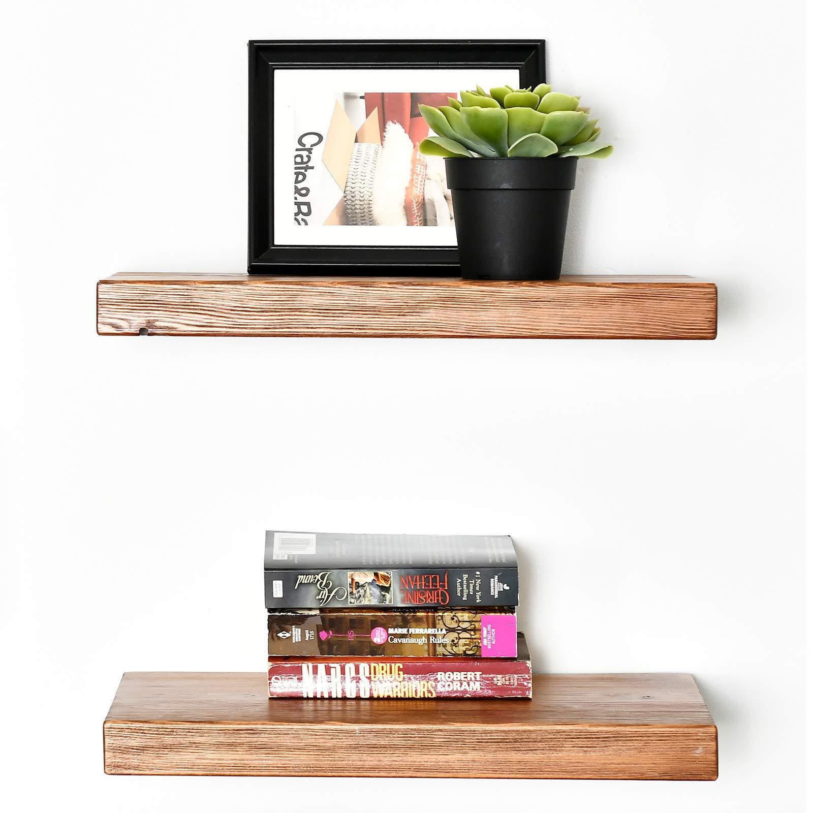 "WELLAND 2 Set Allen 8"" Deep Floating Shelves Reclaimed Wood Wall Shelf Rustic Pine Wall Mount Shelf (Set of 2, 16 inch)"
