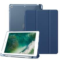 Fintie Case with Built-in Pencil Holder for iPad 9.7 Inch 2018 - Lightweight Slim Shell Cover with Translucent Frosted Back Protector Supports Auto Wake/Sleep for iPad 6th Generation, Navy
