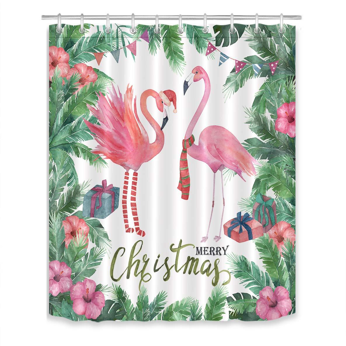 LB Watercolor Christmas Flamingo Shower Curtain Set Green Tropical Plant Palm Leaves Bathroom Curtain Decor,Bath Curtain Hooks Include,60x72 inch Waterproof Fabric