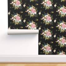Spoonflower Peel and Stick Removable Wallpaper, Floral Watercolor Flowers Pink Black Dark Girly Print, Self-Adhesive Wallpaper 24in x 108in Roll