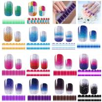 14 Sheets 224 PCS Full Nail Art Polish Stickers, Gradient Glittery Shine Nail Wrap Stickers Decals Kit with 1 Piece Nail File