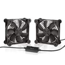 KOTTO Dual 120mm Cooling Fans DC 5V USB Powered Fan with Speed Control, Cabinet Chassis Cooling Fan, Server Workstation Cooling Fan