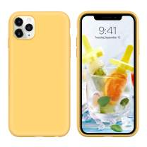 """iPhone 11 Pro Max Case,DUEDUE Liquid Silicone Soft Gel Rubber Slim Cover with Microfiber Cloth Lining Cushion Shockproof Full Body Protective Case for iPhone 11 Pro Max 6.5"""" 2019,Yellow"""