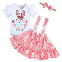 Baby Girl 1st Easter Skirt Set Ruffle Short Sleeve T-Shirt+Rabbit Suspender Skirt+Headband Summer Clothes