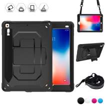BRAECN 6th/ 5th Generation iPad Case, Heavy Duty Shockproof Rugged Case with Kickstand/Elastic iPad Pencil Pocket/Expandable Storage Pouch/Shoulder Strap for 9.7 ipad case for Kids(Black)