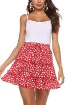 SimpleFun Womens Ruffle Floral Print or Polka Pot Mini Skirts with Bow