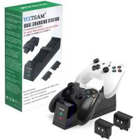 Xbox One Controller Charger, YCCSKY Dual Xbox One/One S/One X/One Elite Controller Charging Station with 1200 mah Xbox Rechargeable Battery for Two Xbox Wireless Controllers-Black