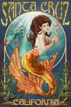 Santa Cruz, California - Mermaid (16x24 Giclee Gallery Print, Wall Decor Travel Poster)