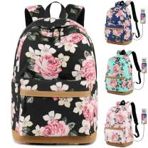 """MORGLOVE Canvas Backpack for Girls Teenager High School Bookbag with Charging Port Lightweight (17.3""""H 11.8""""L 7.48""""W) Black"""