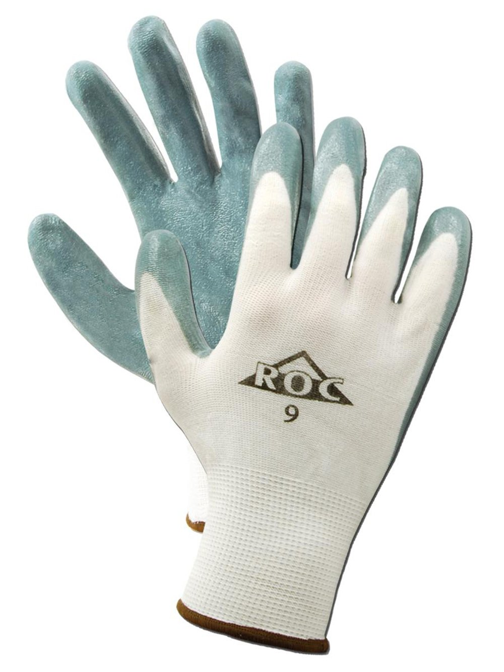 "MAGID ROC GP560 Nylon Glove, Gray Foam Nitrile Palm Coating, Knit Wrist Cuff, 10"" Length, Size 10  (12 Pair)"
