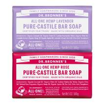 Dr. Bronner's - Pure-Castile Bar Soap (2-Pack Bundle, Rose & Lavender) - Made with Organic Oils, For Face, Body and Hair, Gentle and Moisturizing, Biodegradable, Vegan, Cruelty-free, Non-GMO