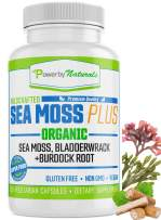 Organic Sea Moss Plus (China Free) Wildcrafted Irish Sea Moss Bladderwrack Burdock Root - No Fillers -Vegan - Pure Powder Sea Moss Capsules - (60) Seamoss Pills Supplements - Power by Naturals