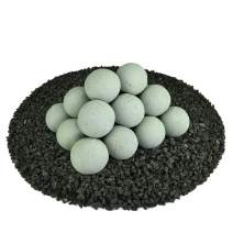 Ceramic Fire Balls   Set of 20   Modern Accessory for Indoor and Outdoor Fire Pits or Fireplaces – Brushed Concrete Look   Pewter Gray, 3 Inch