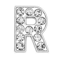 ZHU YU CHUN 50pcs Full Rhinestones 8mm Slide Alphabet Letters R for DIY Slide Wristbands Bracelets,Jewelry Making Charms, Silver R