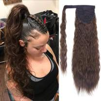 SEIKEA Clip in Ponytail Extension Wrap Around for Women Long Wavy Curly Hair Fluffy Pony Tail 24 Inch - Dark Chocolate Brown