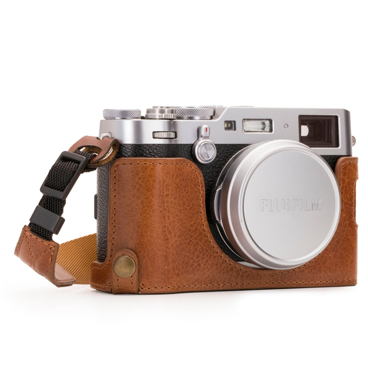 Megagear MG1282 Fujifilm X100F Ever Ready Genuine Leather Camera Half Case & Strap with Battery Access, Brown