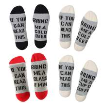 Men's IF YOU CAN READ THIS Funny Saying Wine Coffee Beer Tea Taco Pizza Xmas movie Cotton Crew Socks for Men