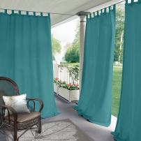 """ChadMade Blackout Outdoor Curtain Tab Top Turquoise 100"""" W x 102"""" L for Front Porch, Pergola, Cabana, Covered Patio, Gazebo, Dock, and Beach Home (1 Panel)."""